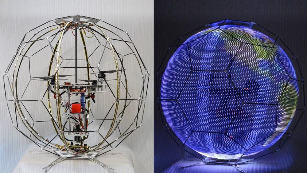 Первый в мире дрон со сферическим LED-дисплеем