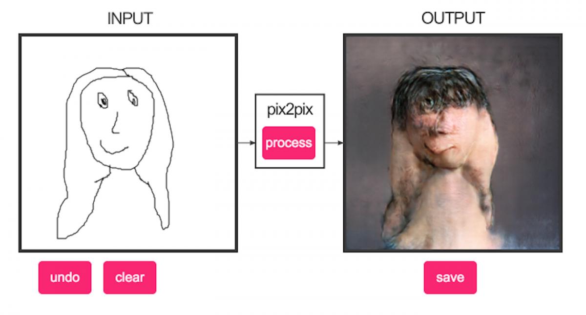 Искусственный интеллект Pix2Pix научился превращать рисунки в портреты
