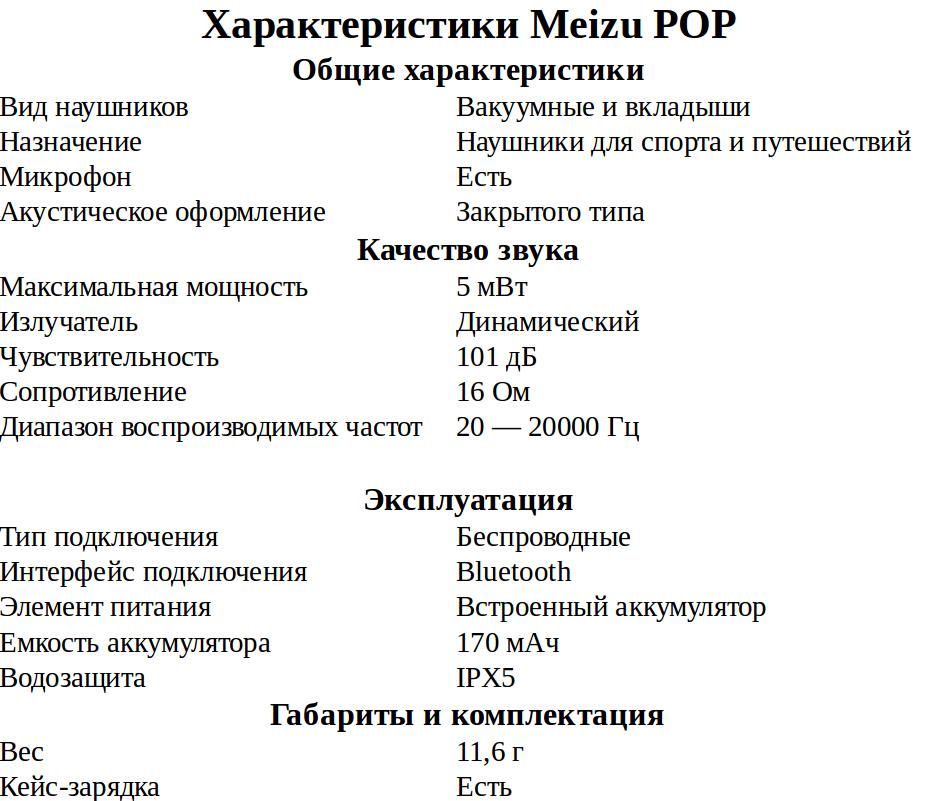 Meizu POP характеристики