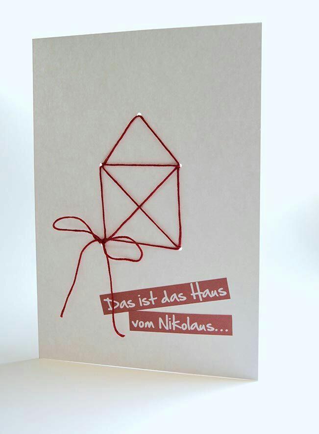 Новогодняя открытка из ниток своими руками