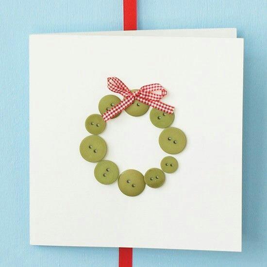 Новогодние открытки с пуговицами своими руками