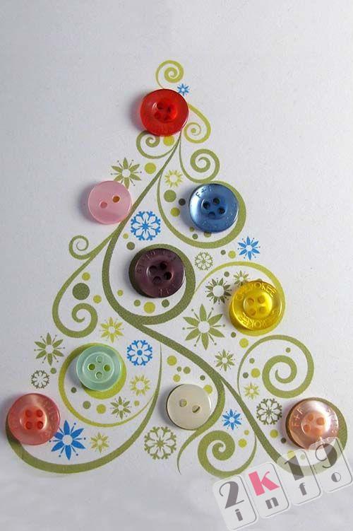 Новогодние открытки с пуговицами