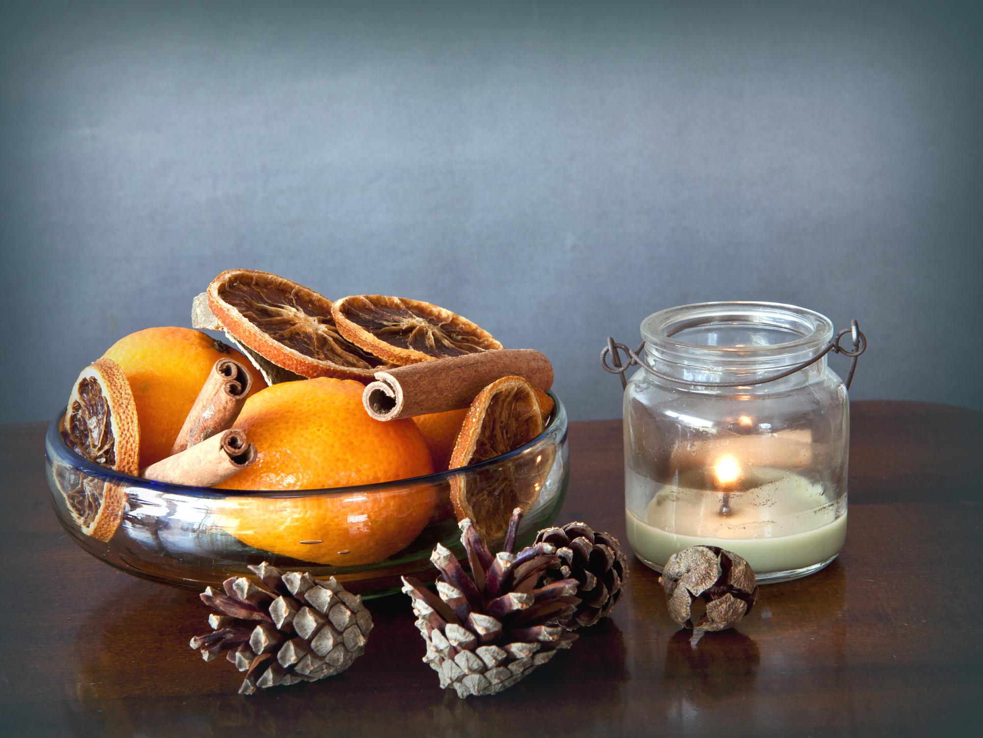украшения из мандаринов на Новый год