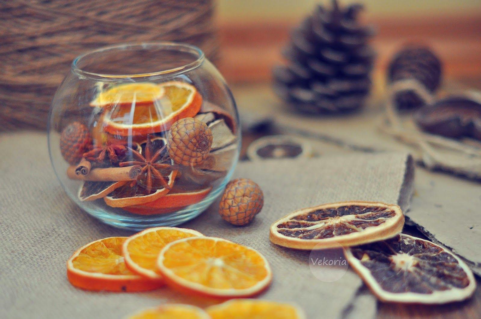 украшения из цитрусовых на Новый год