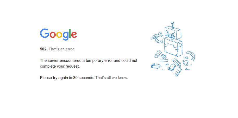 сервисы Google перестали работать